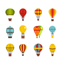 Airballon icon set flat style vector