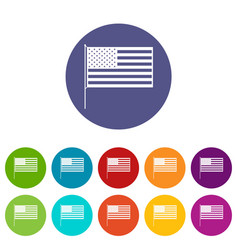 american flag set icons vector image