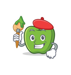 Artist green apple character cartoon vector