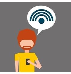 Avatar smartphone wifi social media vector
