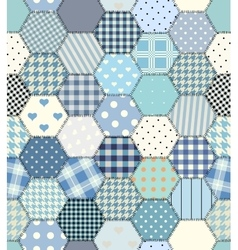 Blue patchwork hexagon vector