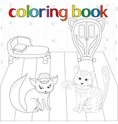 Cat and pussy in room for coloring book vector image vector image
