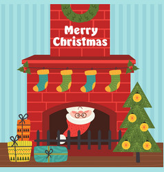 christmas card with santa claus inside fireplace vector image vector image