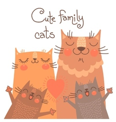 Cute card with family cats vector