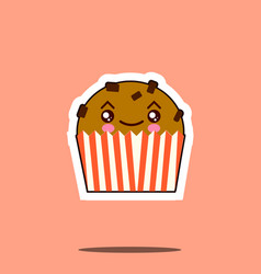 Cute kawaii cupcake funny emoticon face icon vector