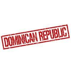 Dominican republic red square stamp vector