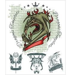 Dragon and ribbon - set Stock vector image
