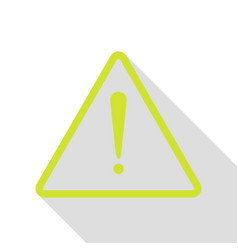 Exclamation danger sign flat style pear icon vector