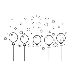 Festive balloons background line style vector