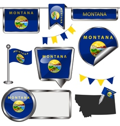 Glossy icons with montanan flag vector
