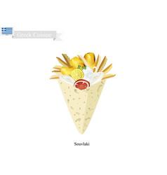 homemade souvlaki a popular greek fast food vector image