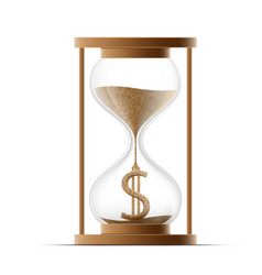 Hourglass with dollar sign costs money icon vector