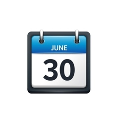 June 30 calendar icon flat vector