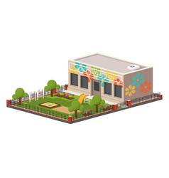 low poly kindergarten building vector image vector image