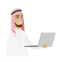 Muslim businessman using laptop vector