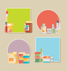 Pill bottle with various pills and capsules labels vector