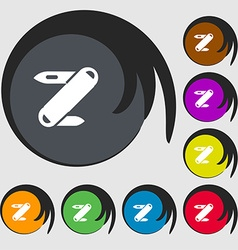 Pocket knife icon sign symbols on eight colored vector