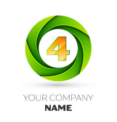 Realistic number four logo in the colorful circle vector