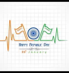 Republic Day greeting with heartbeat vector image vector image
