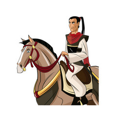 Samurai warrior with sword riding horse designed vector