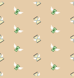 seamless pattern of flying paper money and vector image