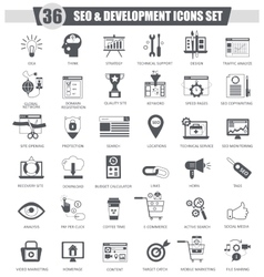 SEO and development black icon set Dark vector image vector image