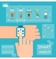 Smart watch fitness tracker vector image vector image