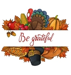 Template with thanksgiving icons vector
