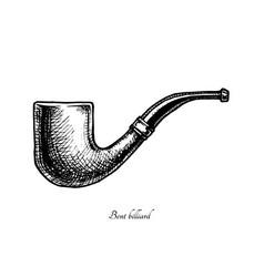 tobacco pipes bent billiard vector image vector image