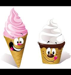 two happy Ice creams vector image vector image