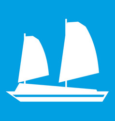 Vietnamese junk boat icon white vector