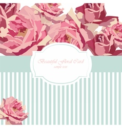 Watercolor delicate roses card vector