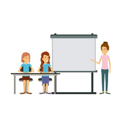 White background with couple of women sitting in a vector
