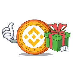 With gift binance coin mascot catoon vector