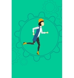 Woman running inside the gear vector