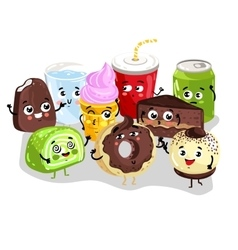 Funny sweet food and drink character set vector