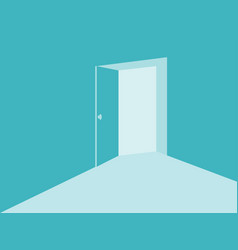 Light from the open door in mint blue colors vector