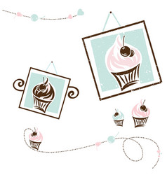 Cake design collection for cafe and shop vector