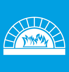 Pizza oven with fire icon white vector