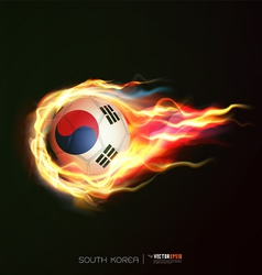 South korea flag with flying soccer ball on fire vector
