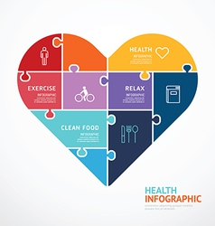 Infographic template with heart shape jigsaw vector