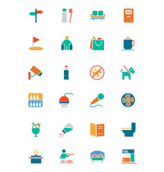 Hotel and restaurant colored icons 7 vector