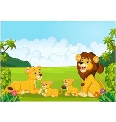 Cartoon lion family vector image