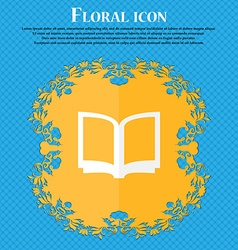 Open book floral flat design on a blue abstract vector
