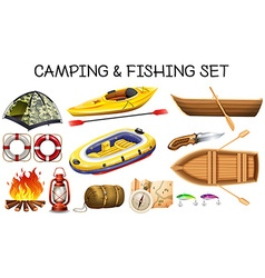 Camping and fishing equipments vector