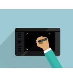 Graphics tablet device design flat vector