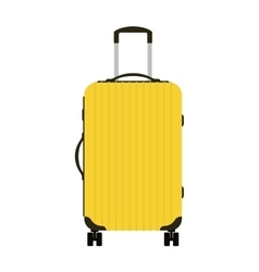 Journey suitcase travel yellow bag trip baggage vector