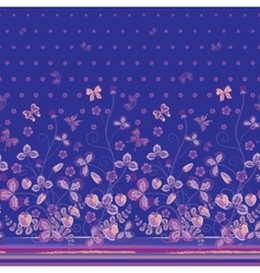 Vertical Seamless spring dark blue floral pattern vector image