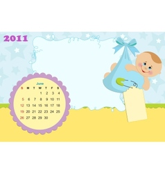 Babys calendar for june 2011 vector image