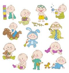 Baby boy doodle set vector